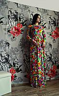 Платье в пол с ярким цветочным принтом
