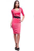 Платье Классическое Облегающее С Коротким Рукавом  Коралловое р. S-XL