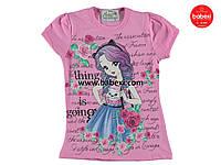 Красивая летняя футболка  для девочек  6, 7, 8 лет.Турция!100 % хлопок!Детская летняя одежда!