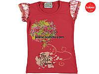 Нарядная  летняя футболка  для девочек  5, 6, 7 лет.Турция!100 % хлопок!Детская летняя одежда!