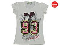 Модная белая летняя футболка  для девочек  9 лет.Турция!100 % хлопок!Детская летняя одежда!