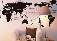 Интерьерная наклейка на стену Карта Мира