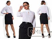 Женское красивое платье MIDI с баской т. шифон+костюмный креп / батал / белое