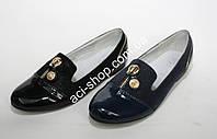 Туфли для девочки лаковый носок декорированные молнией