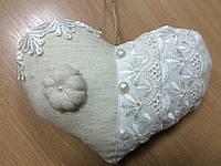 Винтажное сердечко из льна размер 31*20