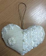 Винтажное сердечко из льна размер 20*13