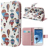 Чехол книжка для Samsung Galaxy S3 i9300i Duos боковой с отсеком для визиток, Воздушные шары