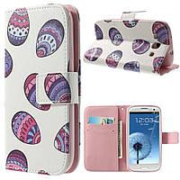 Чехол книжка для Samsung Galaxy S3 i9300i Duos боковой с отсеком для визиток, Разноцветные камни