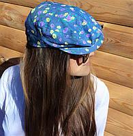 Дизайнерская джинсовая кепка в желто-фиолетовые цветы