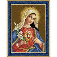 ТО-078 Непорочное сердце Марии 23х32. Барвиста вишиванка. Схема на ткани для вышивания бисером