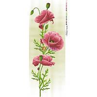 ТК-023 Маки розовые 36х95. Барвиста вишиванка. Схема на ткани для вышивания бисером