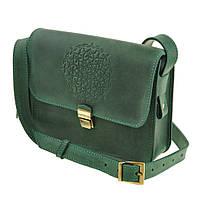 """Женская кожаная сумка зеленая бохо """"Лилу"""" жіноча шкіряна сумка"""