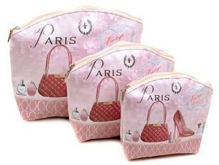 Красивый набор косметичек 3в1 из эко-кожи Anter 3HZB5A013 розовый