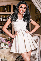 Модное короткое женское платье с пышной юбкой под пояс с кружевной отделкой рукав короткий жаккард