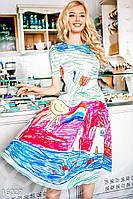 Веселое расклешенное женское платье с принтом стилизованным под детский рисунок рукав короткий креп-шифон