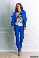 Брючный костюм женский ярко-синего цвета