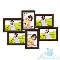 Мультирамка Ретро на 6 фотографий 10х15, антибликовое стекло (коричневый)