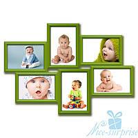 Мультирамка Ретро на 6 фотографий 10х15, антибликовое стекло (зелёный)