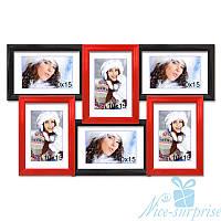 Мультирамка Диана на 6 фотографий 10х15, антибликовое стекло (чёрно-красный)