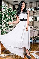 Вечернее шифоновое женское платье с длинной асимметричной юбкой с атласным поясом без рукавов