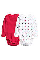 Детские бодики H&M (набор 2 шт).  4-6, 9-12, 12-18 месяцев, 1,5-2 года