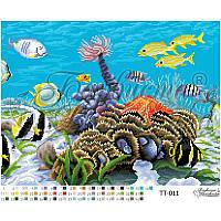 ТТ-011 Подводный мир 46x35. Барвиста вишиванка. Схема на ткани для вышивания бисером