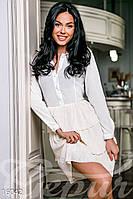 Необычное женское платье-рубашка с многослойной плиссированной юбкой рукав длинный микродайвинг креп-шифон