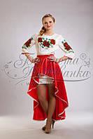ПЛ-001 Платье женское, атлас-коттон, белый. Барвиста вишиванка. Заготовка для вышивки бисером