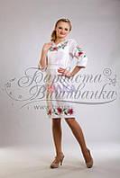 ПЛ-002 Платье женское, атлас-коттон, белый. Барвиста вишиванка. Заготовка для вышивки бисером