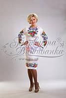 ПЛ-014 Платье женское, атлас-коттон, белый. Барвиста вишиванка. Заготовка для вышивки бисером