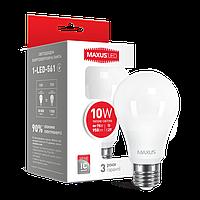 Лампа светодиодная A60 10W 3000K 220V E27 MAXUS (1-LED-561)