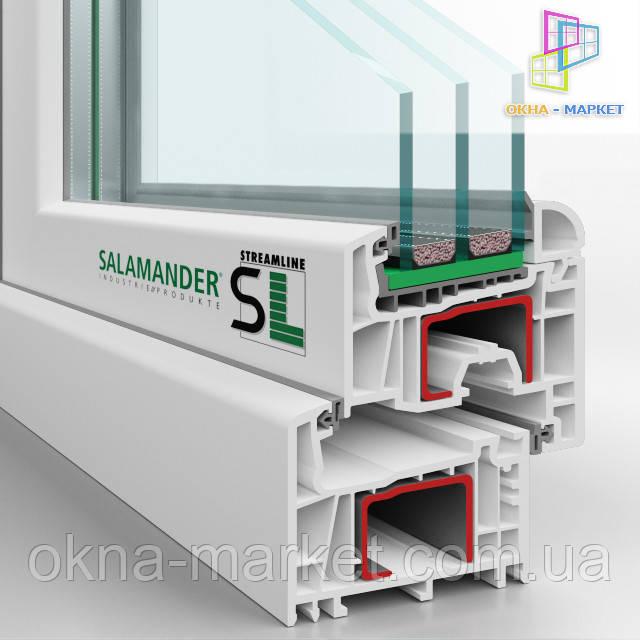 """Профиль Salamander StreamLine в разрезе, оконная фирма """"Окна Маркет"""""""