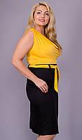 Анхель. Женское легкое платье супер батал. Желтый., фото 1