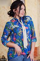 Шифоновая женская блузка с асимметричным низом в цветочек рукав длинный батал