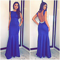 Женское вечернее платье в пол с камнями синее