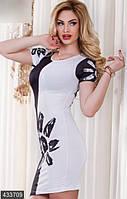 Черно-белое облегающее женское платье мини с цветком рукав короткий трикотаж Турция