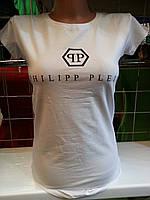 Футболка Philipp Plein женская с декоративными вырезами с логотипом со стразами Турция разные цвета SF89