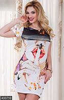 Стильное облегающее женское платье мини с ярким принтом рукав короткий трикотаж Турция