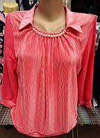 Однотонная батальная  блуза с длинным рукавом