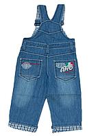 Детский джинсовый комбинезон для мальчика весенний на подкладке с железными фиксаторами (итальянский стиль)