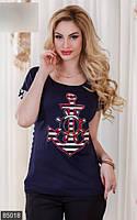 Стильная женская футболка свободного силуэта с якорем спинка в полоску рукав короткий вискоза батал Турция