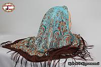 Павлопосадский коричневый платок Лиза