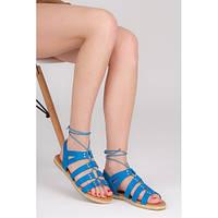Женские сандалии синие с заклепками на завязках