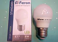 Светодиодная лампа Feron LB-745 E27 6W 4000K  для общего и декоративного освещения