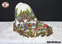 Павлопосадский белый платок Алёна