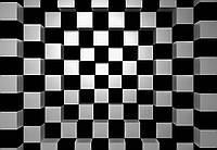 Фотообои флизелиновые на стену 366х254 см 8 листов: Чёрный+Белый Квадраты