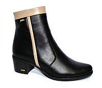 Демисезонные женские ботинки на невысоком каблуке, натуральная кожа бежевая и черная