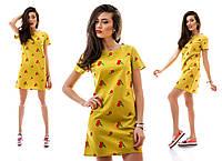 Льняное желтое платье-туника с вышивкой Вишенка. Арт-1146