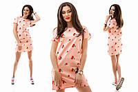 Льняное персиковое платье-туника с вышивкой Вишенка. Арт-1146