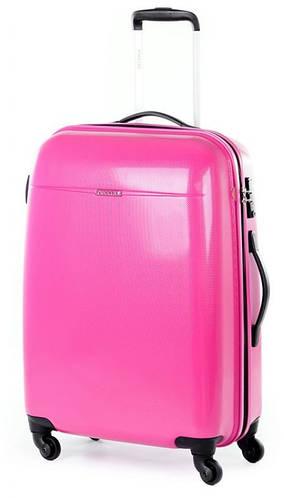 Качественный средний чемодан 4-колесный из пластика 61 л. Puccini PС-005, 6832/33 розовый